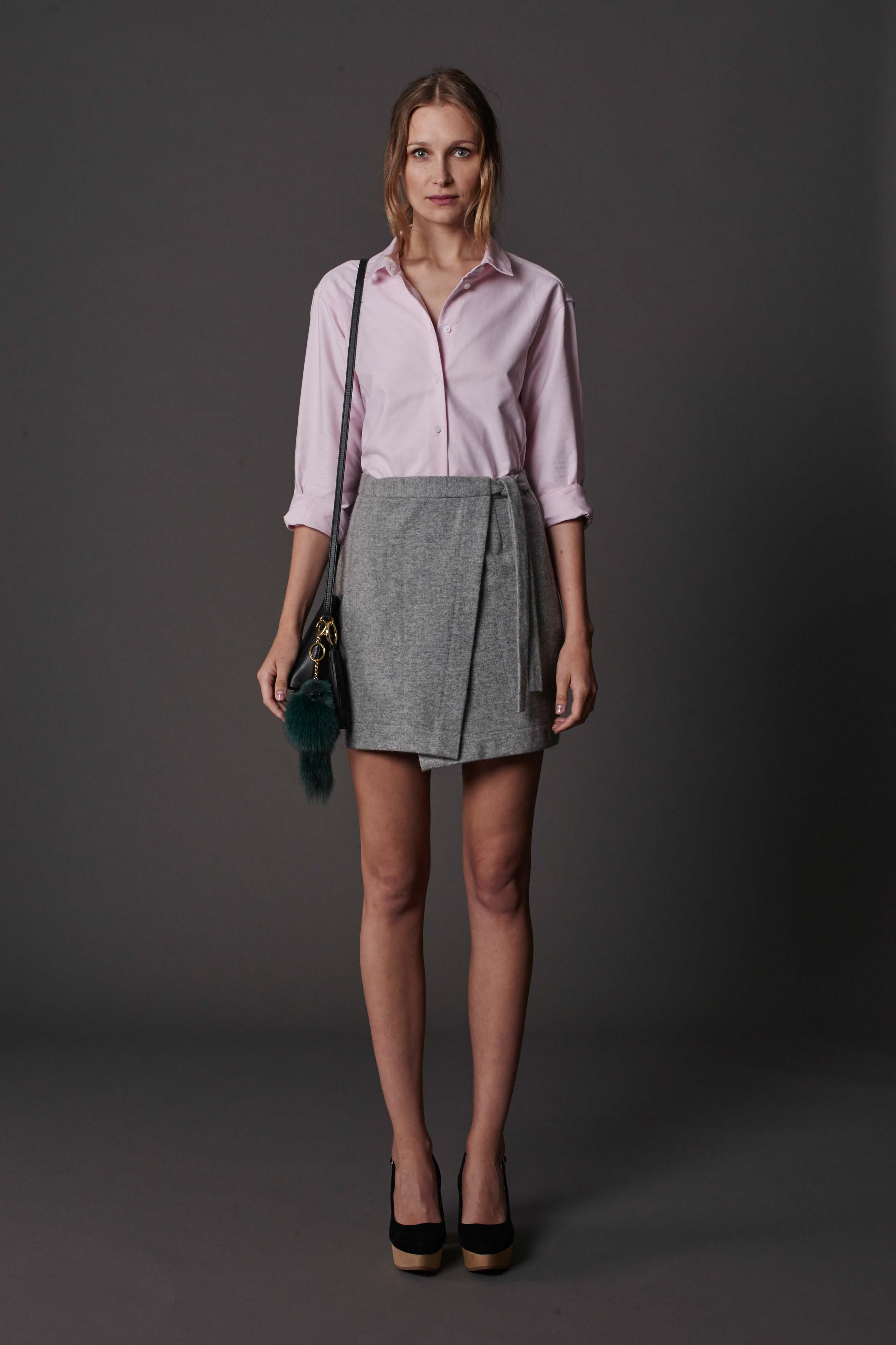 RUBY Vasilisa Shirt, Alta Wrap Miniskirt & Halo Heel