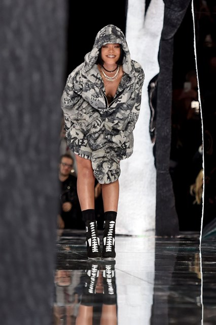Rihanna takes a bow as she unveils her Fenty x Puma fashion line.