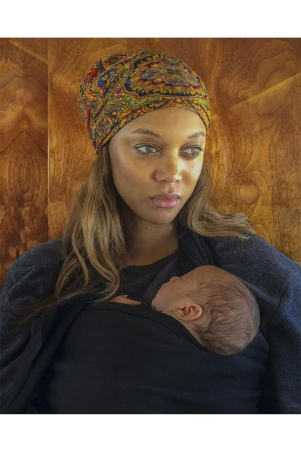 Tyra Banks releases the first photograph of her baby boy, York, on Instagram.