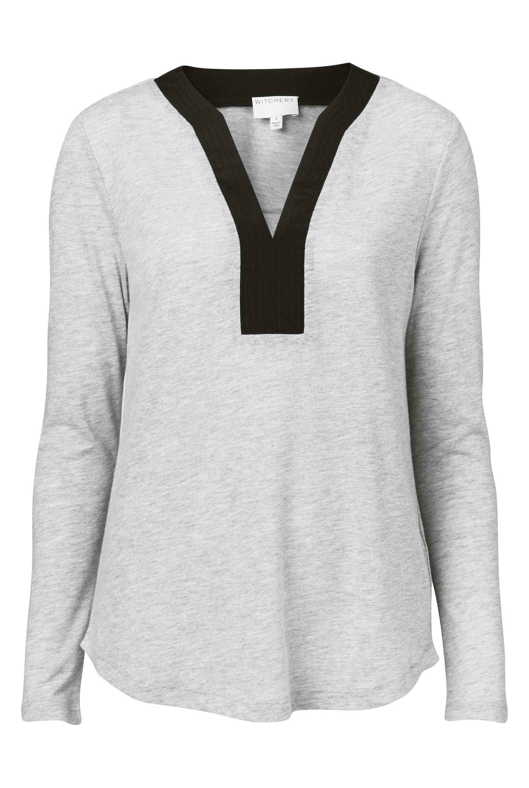 60193425_Witchery Woven Insert Top (in Light Grey Marle), RRP$79.90