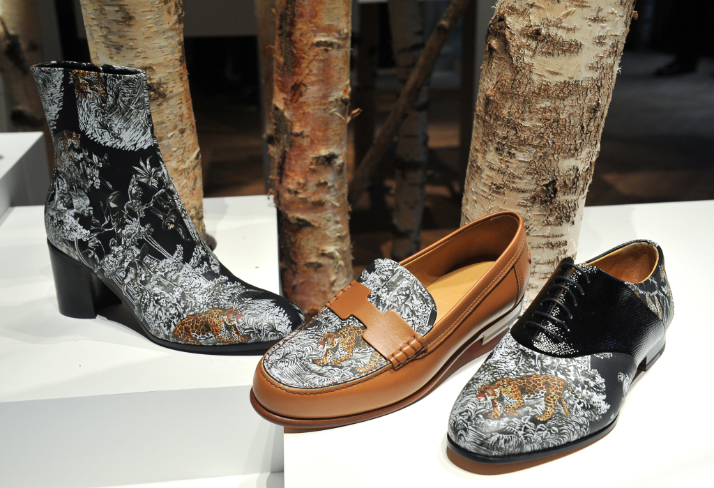 Accessories Scene: Paris Fashion Week Fall 2016 - For his Hermès shoe collection, Pierre Hardy had nature on his mind, and set the mood by displaying the footwear among a roomful of birch trees.