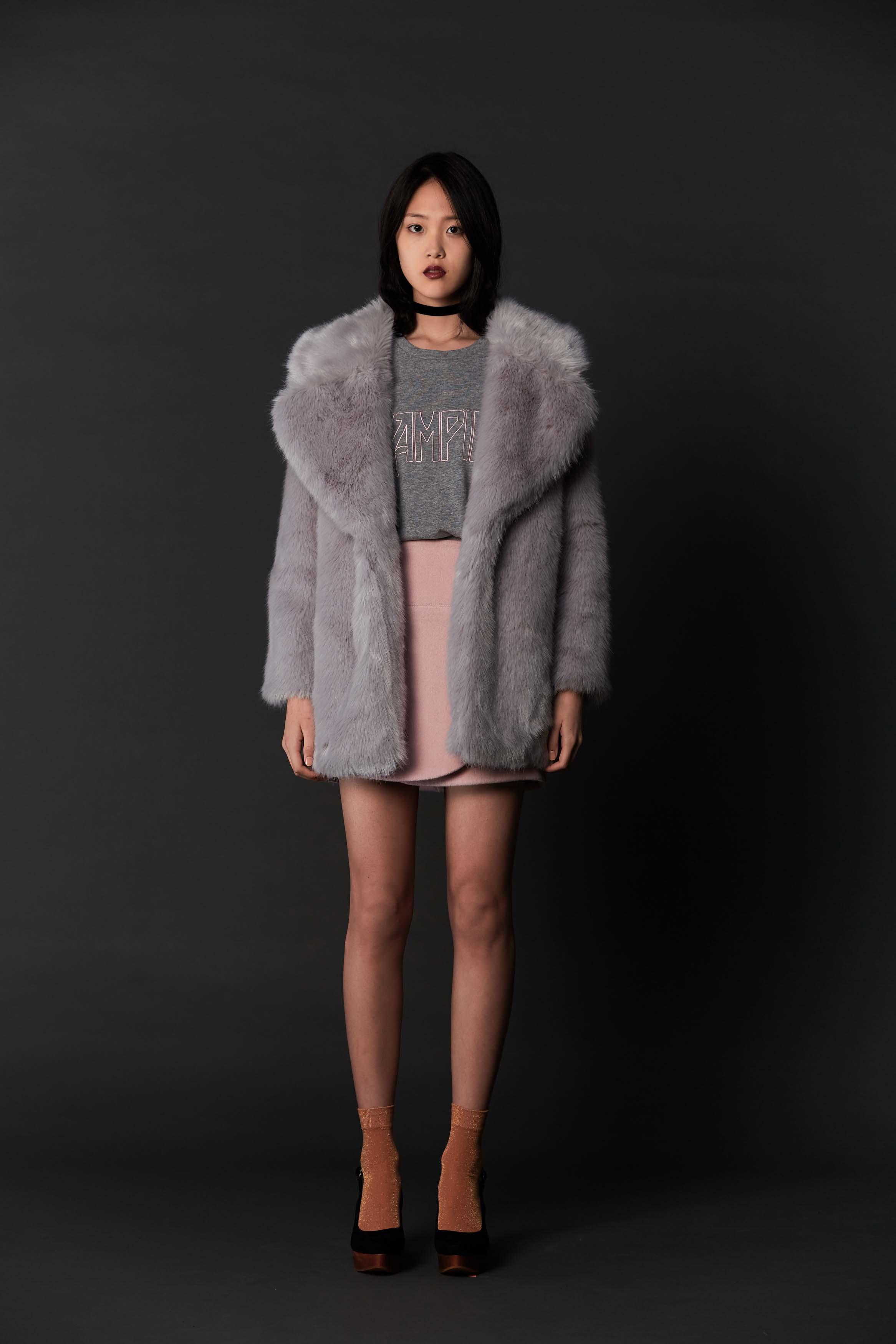 RUBY Bunny Coat, Vampire Longsleeve, King Miniskirt & Halo Heel