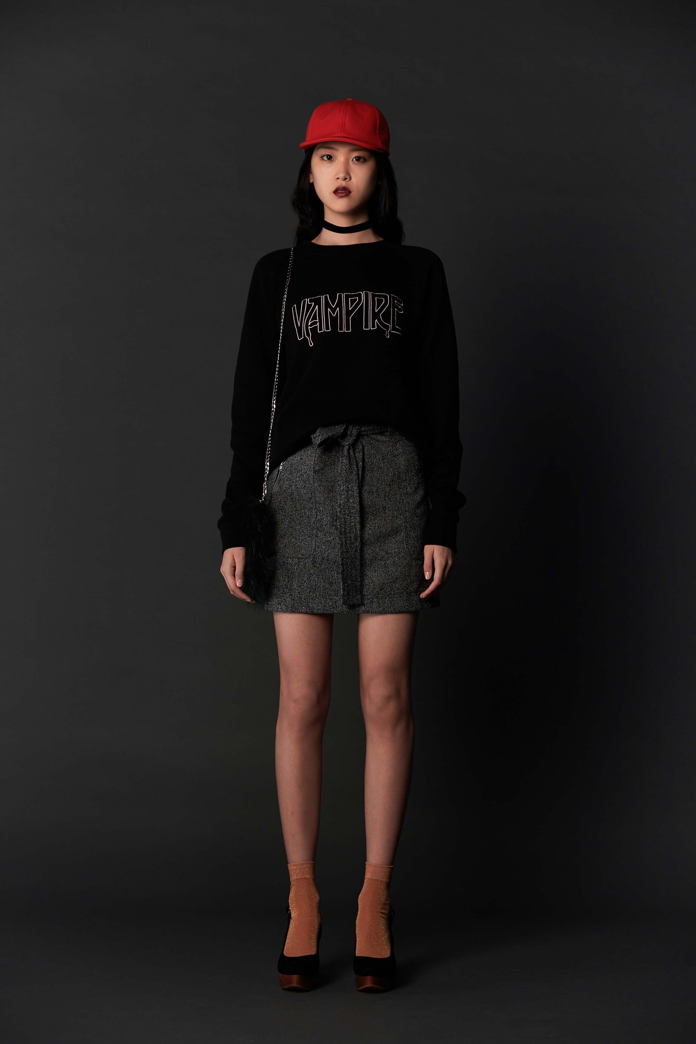 RUBY Vampire Sweatshirt, Zora Miniskirt, Alpine Baseball Cap & Halo Heel