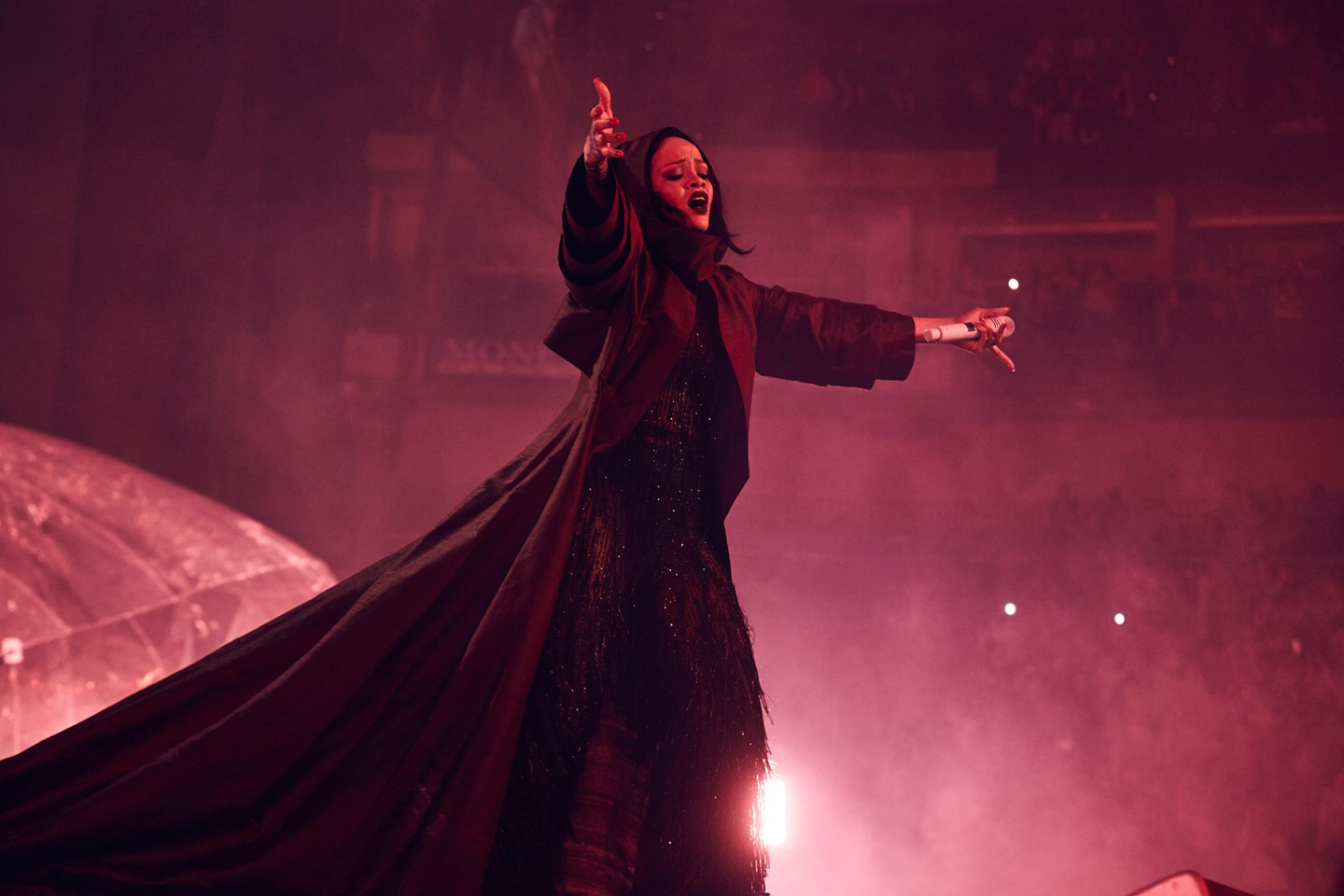 Rihanna during her ANTI world tour wearing a bespoke Giorgio Armani outfit for her final act.