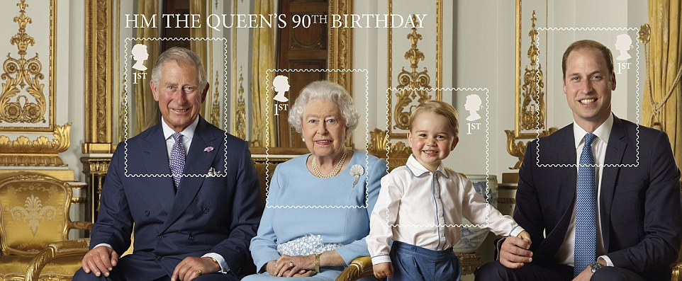 She's Queen of the castle... and he's her cheeky rascal! Adorable Prince George is given a step up as he beams proudly in a magical family portrait to mark the Queen's 90th birthday