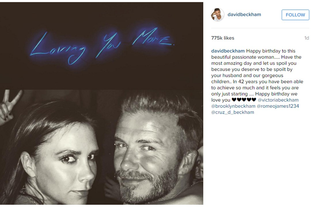 David Beckham takes to Instagram to wish his wife, Victoria, a happy 42nd birthday.
