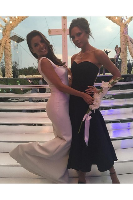 Victoria Beckham uploads a picture of herself and Eva Longoria to Instagram, at the actresses wedding to José Bastón in Mexico.