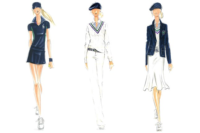 Ralph Lauren reveals drawings of the new Wimbledon uniforms.