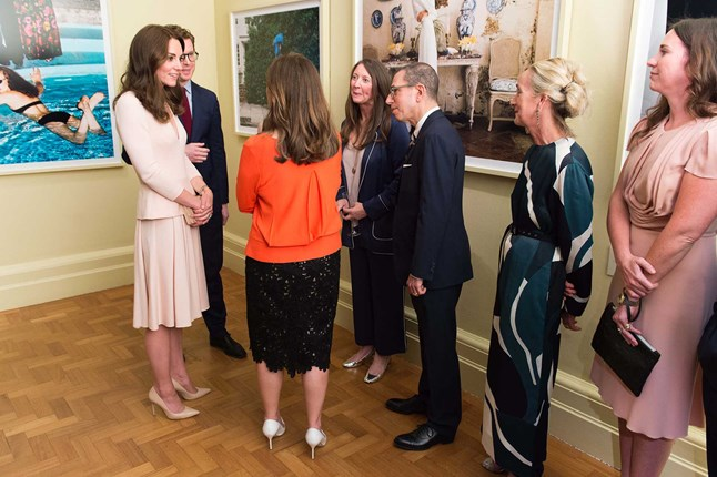 The Duchess of Cambridge was photographed at the National Portrait Gallery with Vogue's editor-in-chief Alexandra Shulman during the visit to the Vogue 100: A Century Of Style exhibition.