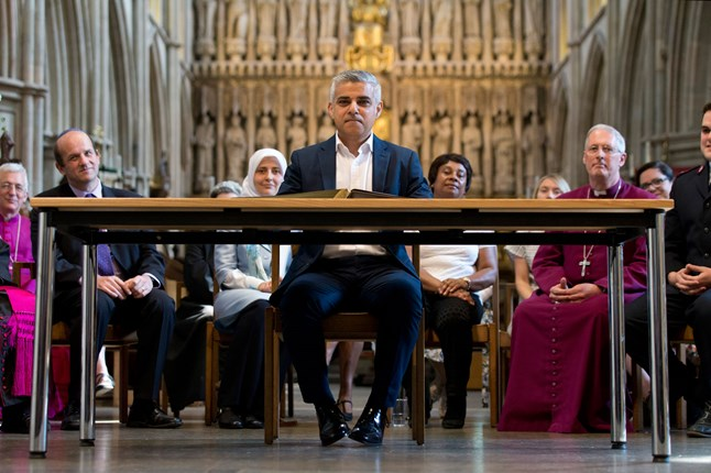 Sadiq Khan is sworn in as London's new Mayor at SouthWark Park Cathedral in London.