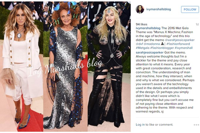 Sarah Jessica Parker responds to a fashion blogger who critisised what she wore to the Met Ball Gala 2016.
