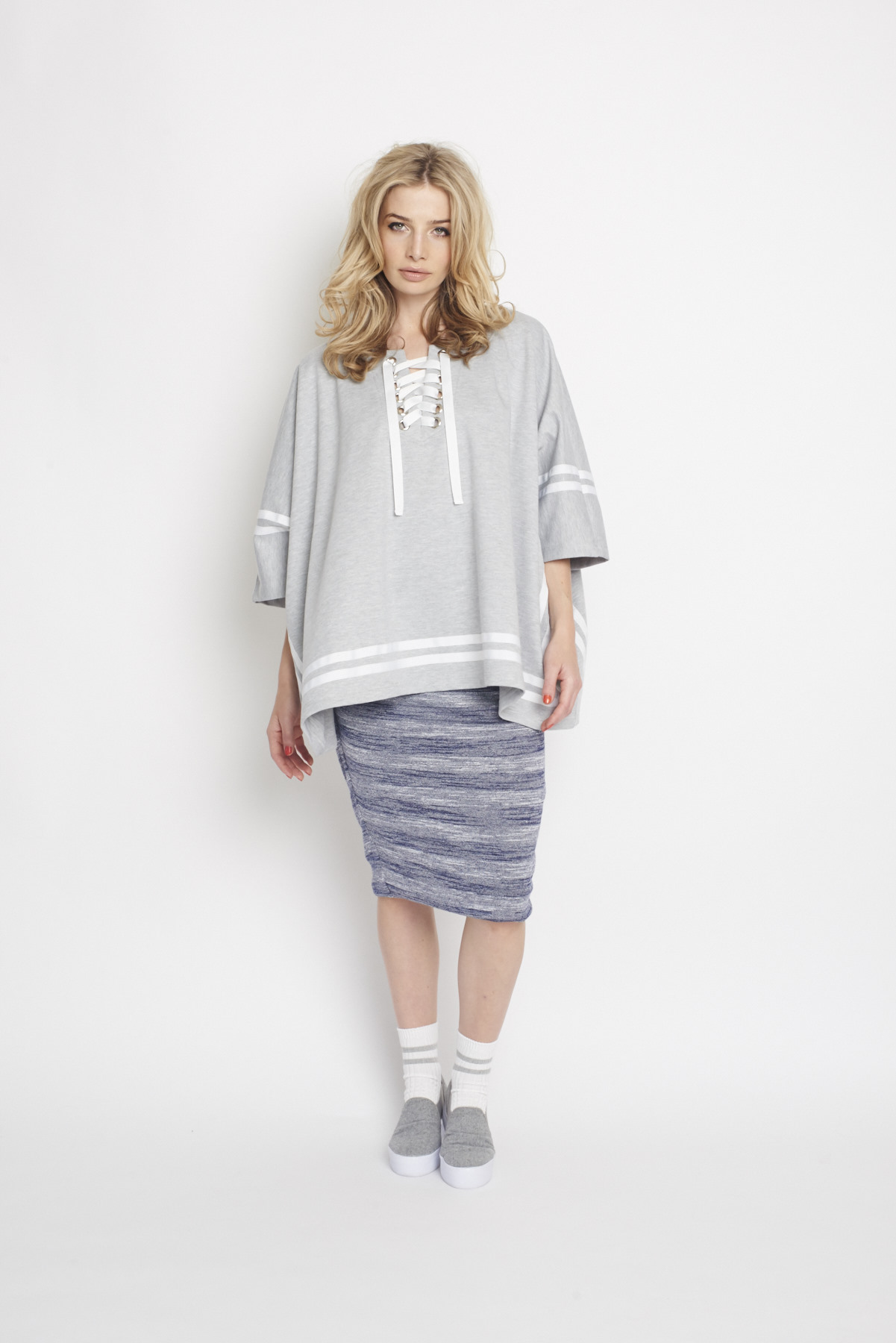 Ketz-ke Sporty Cape Sweater, RRP$185 & Ketz-ke Endless Skirt, RRP$115