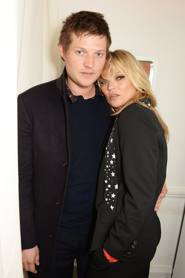 Kate Moss and Count Nikolai von Bismarck are photographed at the launch of her Kate Moss For Equipment x Net-a-Porter collection.