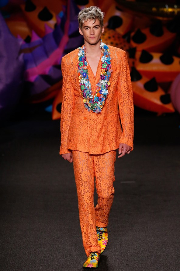 Cindy Crawford's 16-year-old son, Presley Gerber made his runway debut at Moschino's resort show.