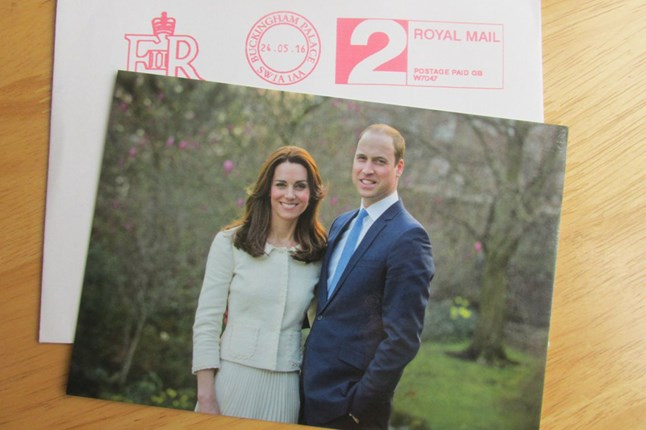 A new portrait of the Duke and Duchess of Cambridge is revealed on the front of thank you cards that were sent to everyone who sent them congratulations on their fifth wedding anniversary.