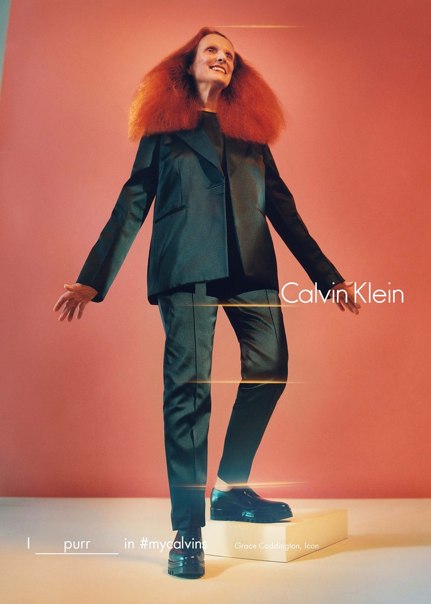 Grace Coddington returns to modelling, shooting a campaign for Calvin Klein.