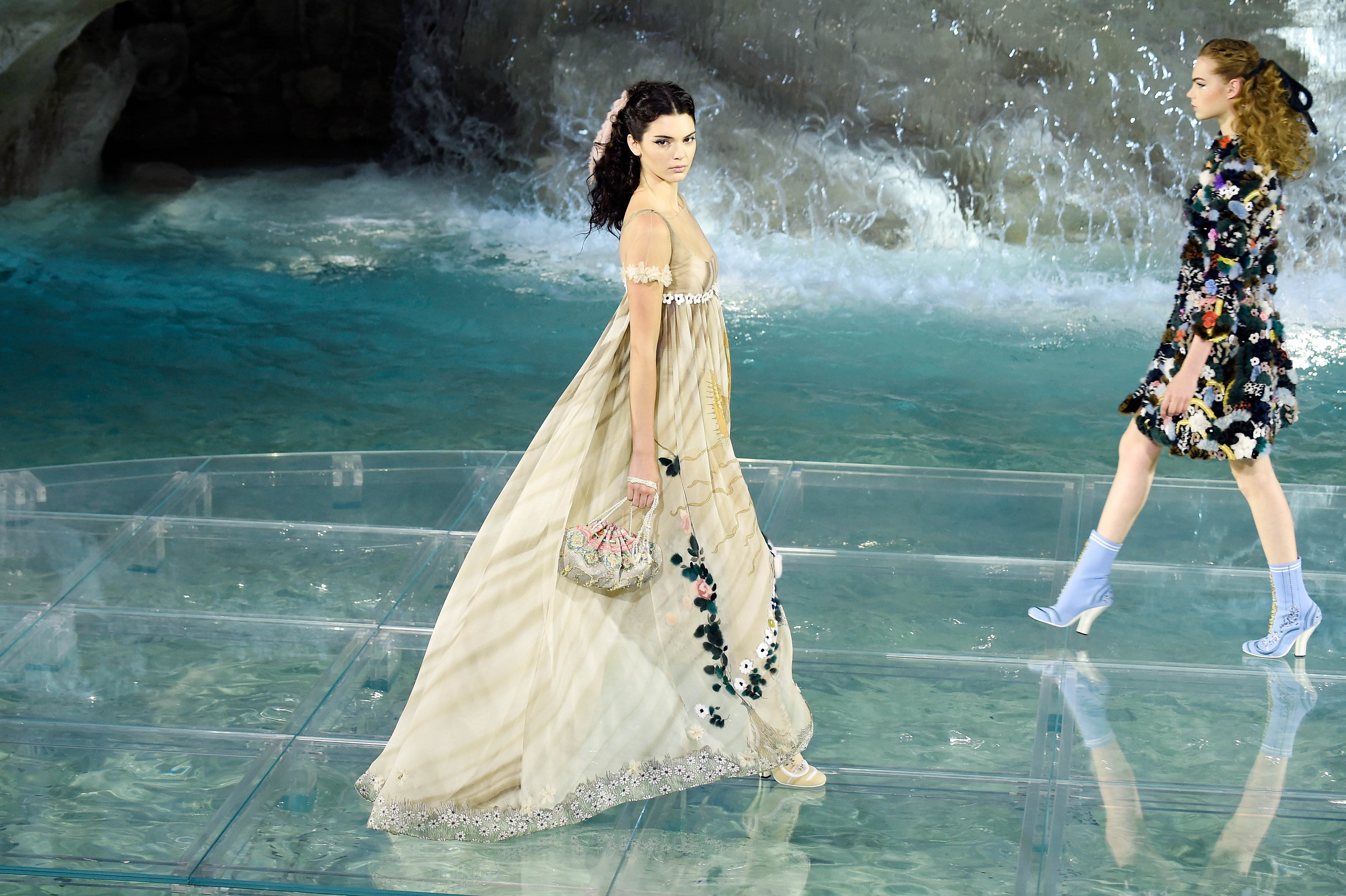 Kendall Jenner walking at Fendi Roma 90 Year Anniversary fashion show at Fontana di Trevi on July 7 in Rome.