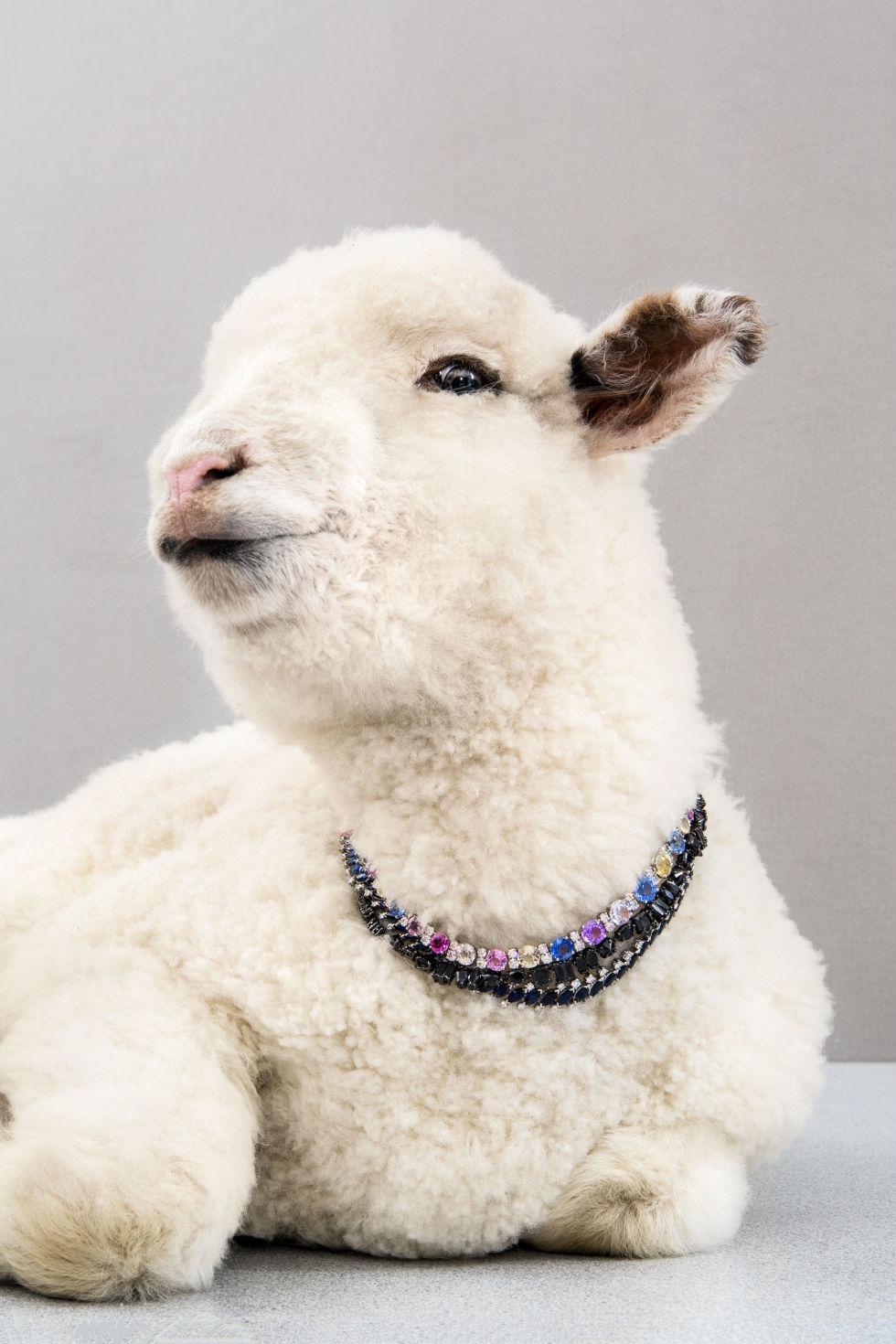 Oscar Heyman Platinum Multi-Color Diamond Necklace, price upon request; oscarheyman.com