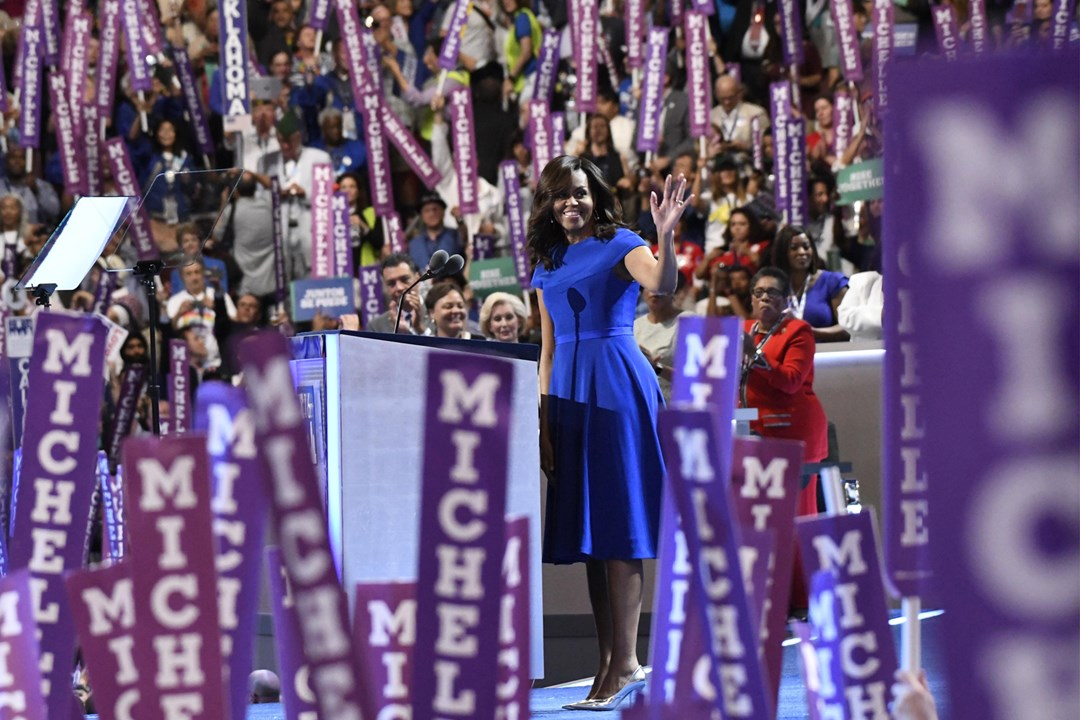 "Michelle Obama presented a speech at the Democratic National Conference. ""I wake up every morning in a house that was built by slaves, and I watch my daughters - two beautiful, intelligent, black young women - playing with their dogs on the White House lawn."