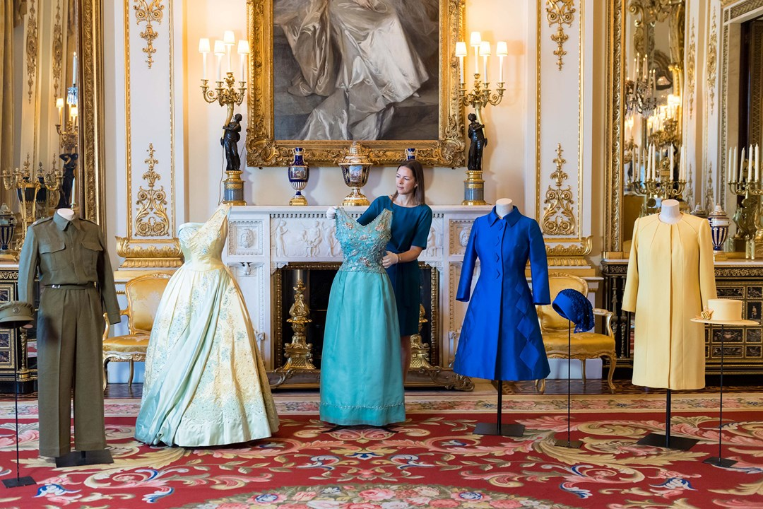 The final preparations were made to a range of outfits set to be part of the Fashioning a Reign: 90 Years of Style from The Queen's Wardrobe.