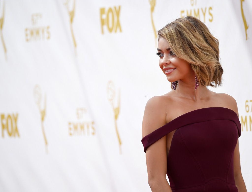 Sarah Hyland on the red carpet at the 67th Emmy Awards