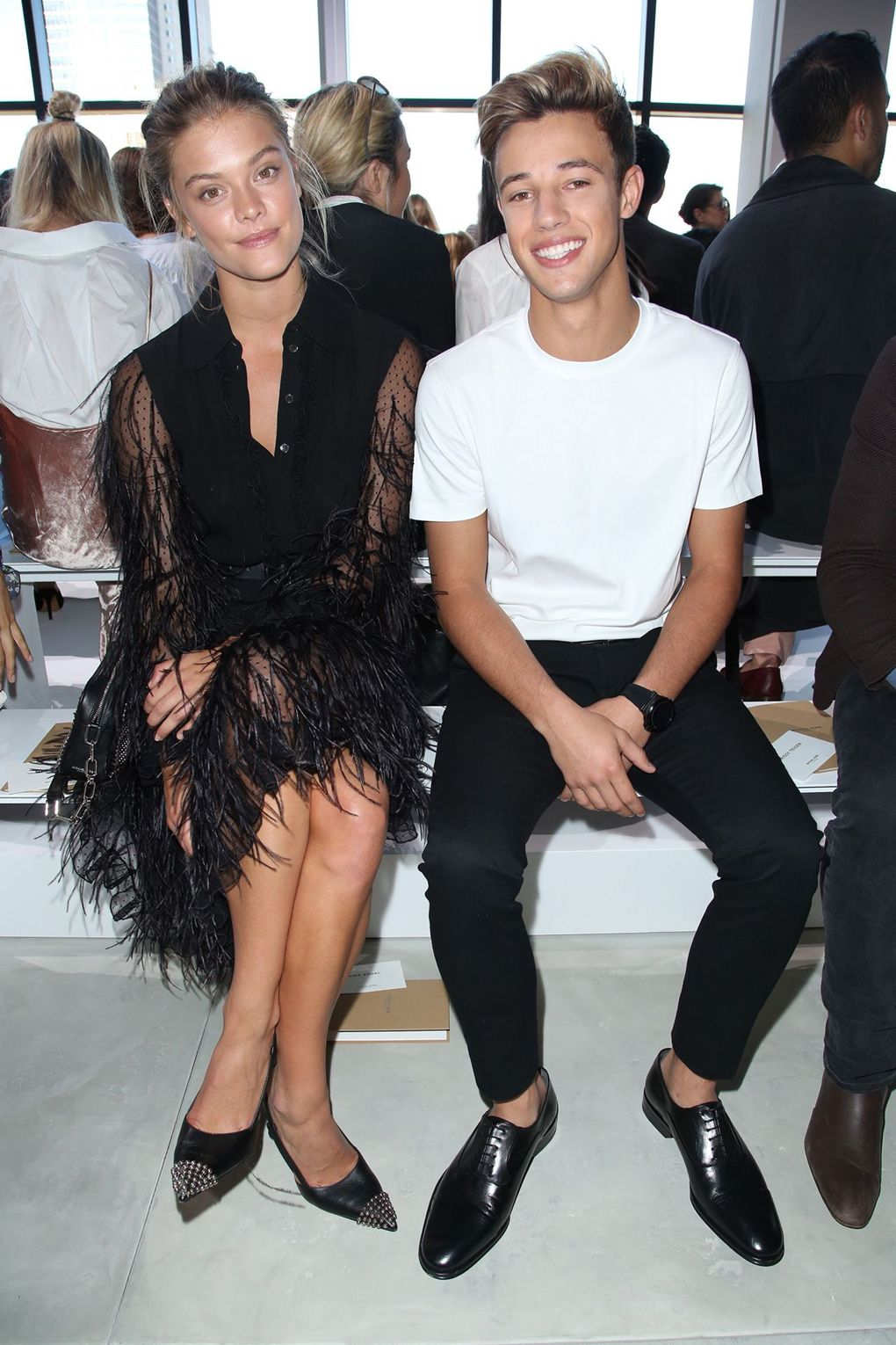 Nina Agdal and Cameron Dallas sitting front and centre at the Michael Kors show this week at NYFW.