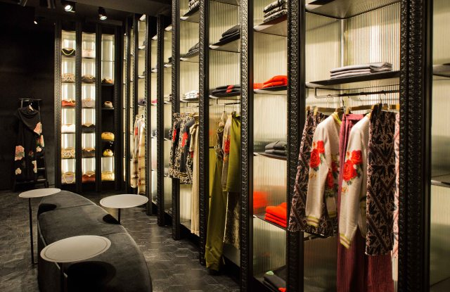 Ballantyne opened its first store in Milan. The 538sf store has no windows, but highlights a sophisticated corduroy decor paired with glass and steel. The new store can be found in Milan's Via Bagutta, the Golden Triangle of luxury shopping.