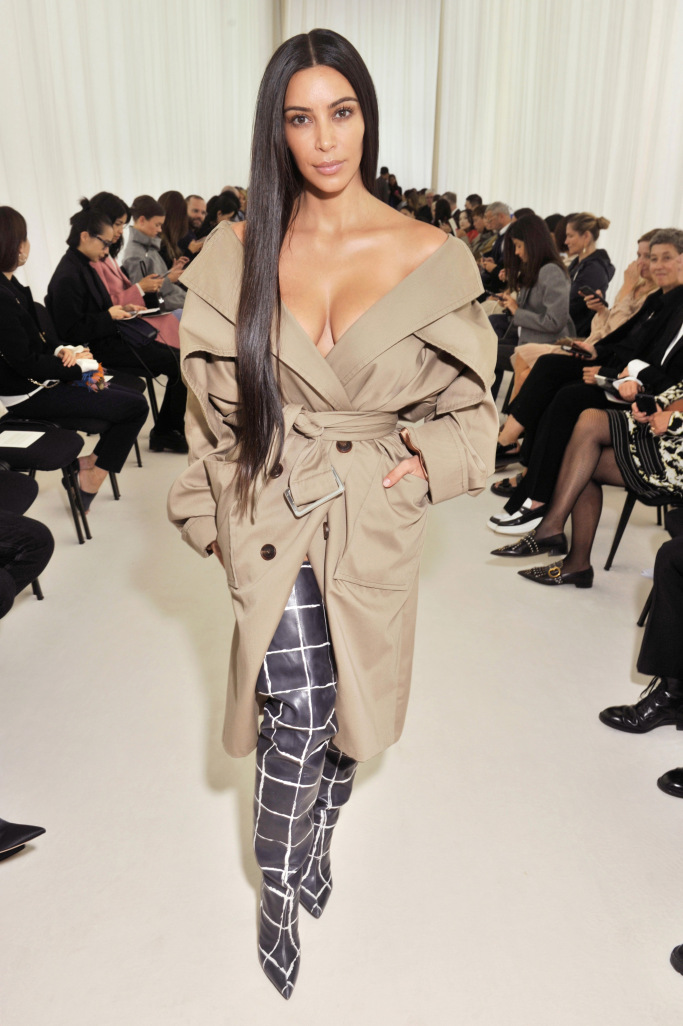 Kim Kardashian at the SS17 Balenciaga show at Paris Fashion Week