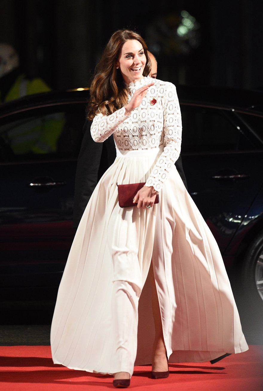 The Duchess of Cambridge, aka K-Mid, attended the premier of A Street Cat Named Bob in a white maxi dress from Self Portrait.