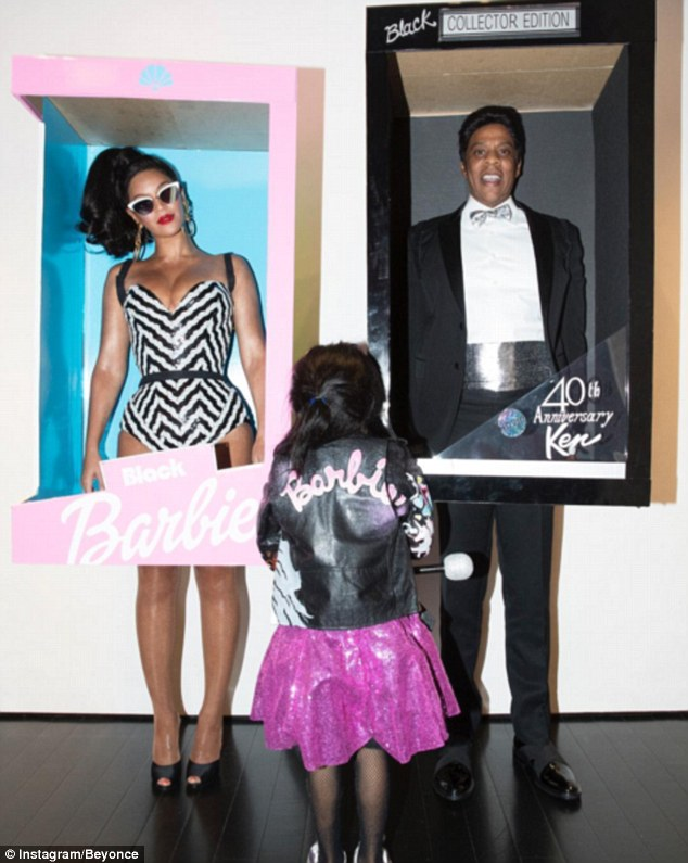 Beyonce and Jay-Z dressed up as vintage-inspired Barbie and Ken dolls, much to the excitement of their daughter Blue Ivy!