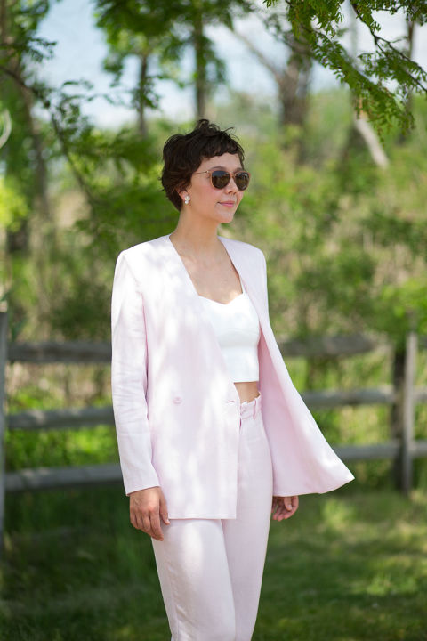 Maggie Gyllenhaal makes a case for a summer suit, layered over a simple camisole.