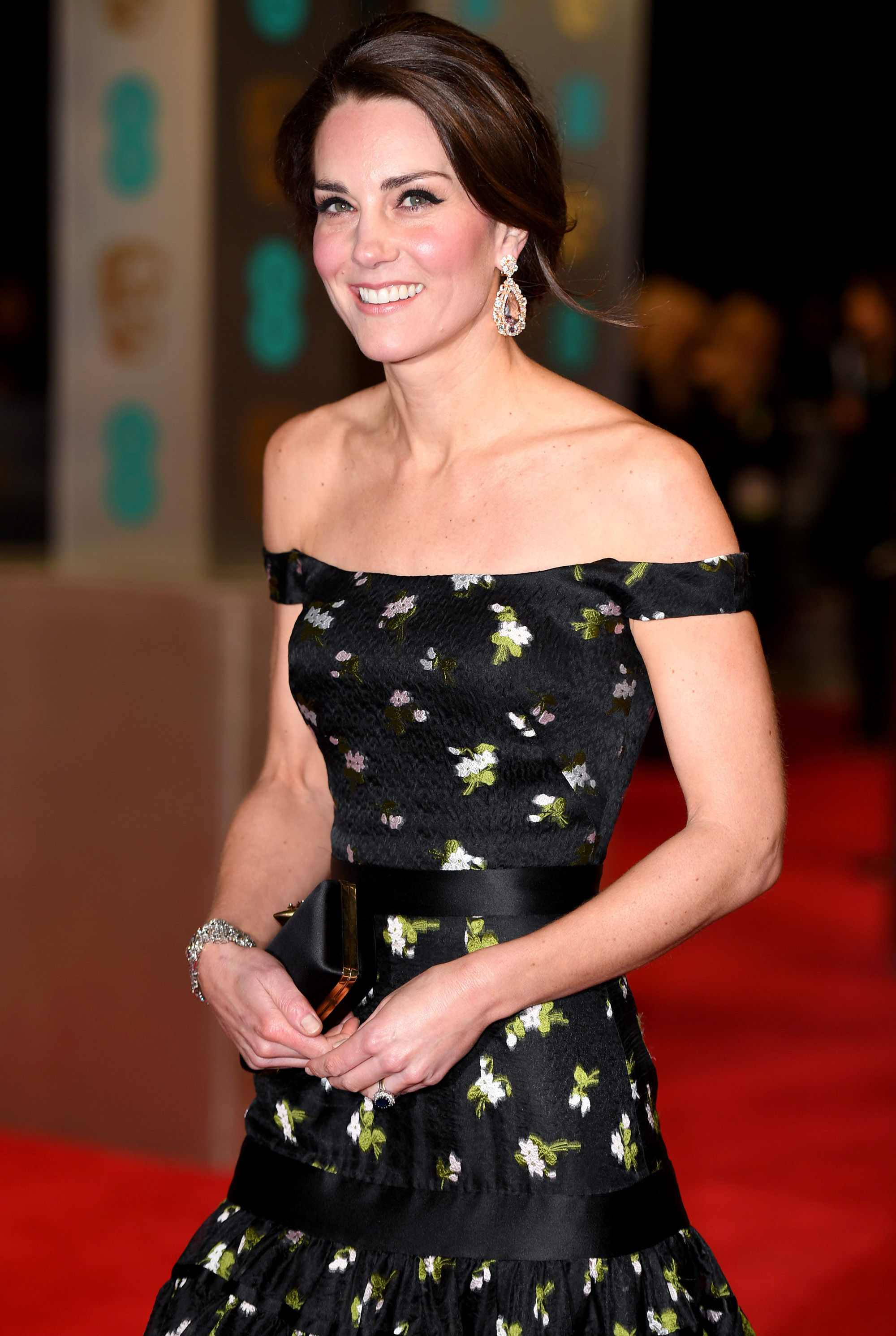 The Duchess of Cambridge attended the BAFTAs, wearing an off the shoulder Alexander McQueen gown.