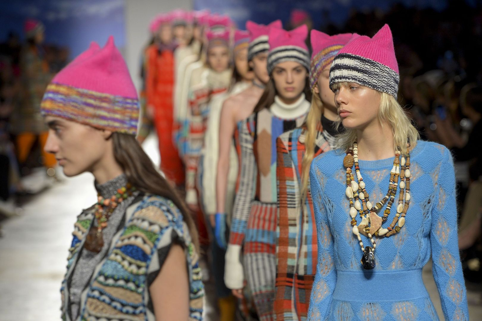 Missoni FW 17 show closed with models taking to the runway in pink knitted beanies, with a cat ear shape.  It was inspired by the Women's March in Washington.