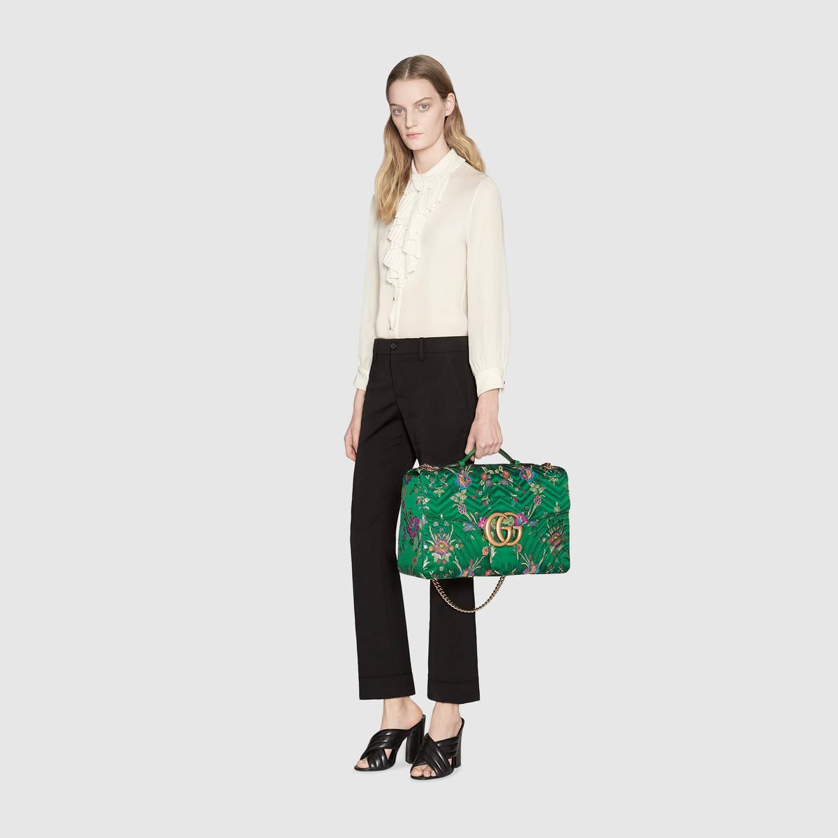 GG Marmont Maxi Floral Jacquard Shoulder Bag