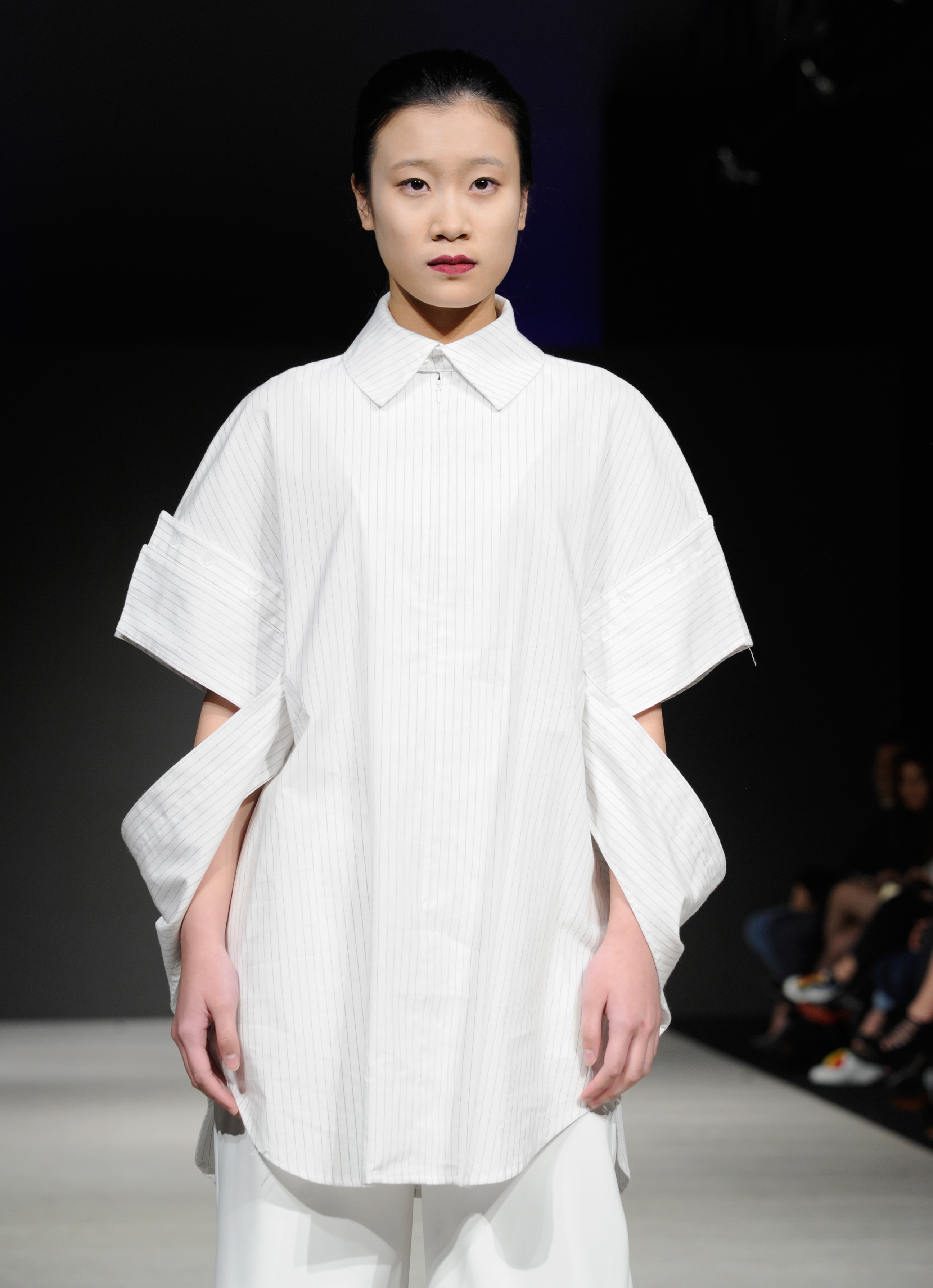 VANCOUVER, BC - MARCH 21:  A model walks the runway wearing Alogon at Vancouver Fashion Week Fall/Winter 2017  at Chinese Cultural Centre of Greater Vancouver on March 21, 2017 in Vancouver, Canada.  (Photo by Arun Nevader/WireImage)