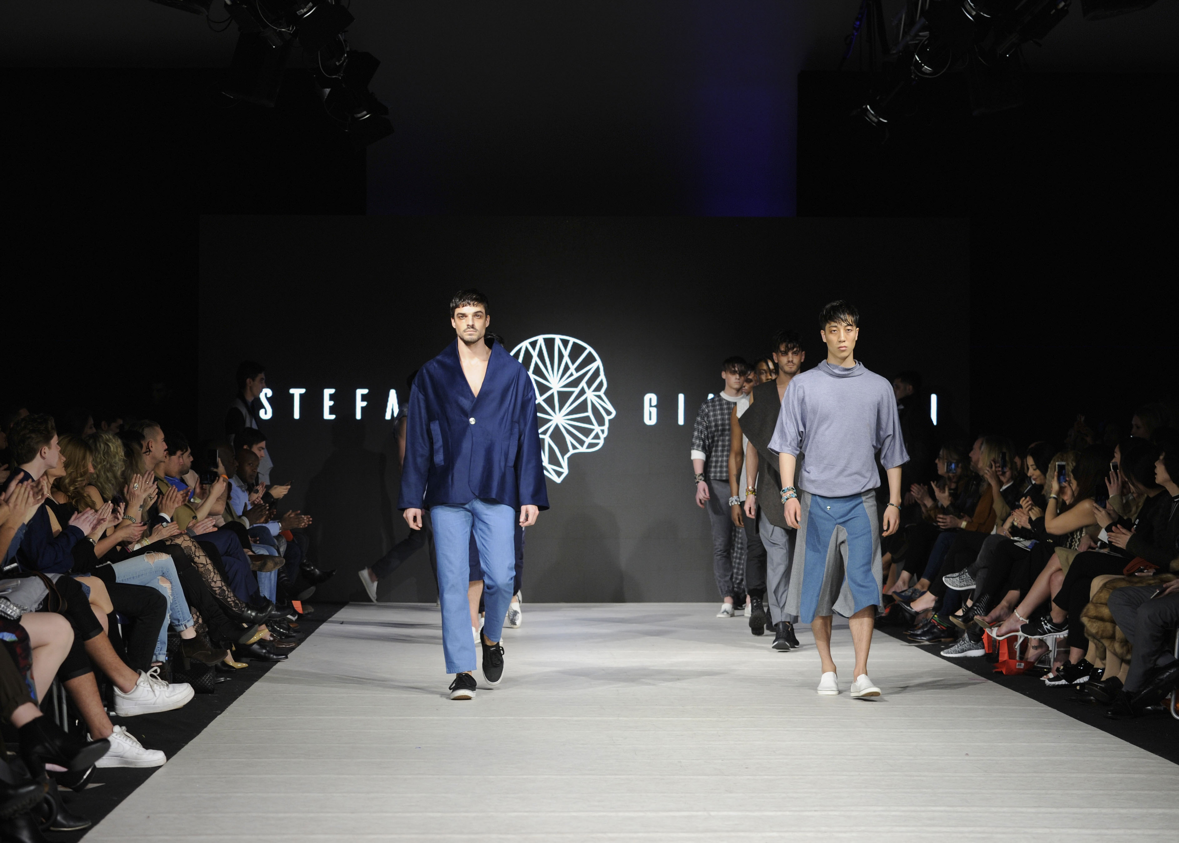 VANCOUVER, BC - MARCH 23:  Models walk the runway wearing Stefano Giammattei at Vancouver Fashion Week Fall/Winter 2017 at Chinese Cultural Centre of Greater Vancouver on March 23, 2017 in Vancouver, Canada.  (Photo by Arun Nevader/WireImage)