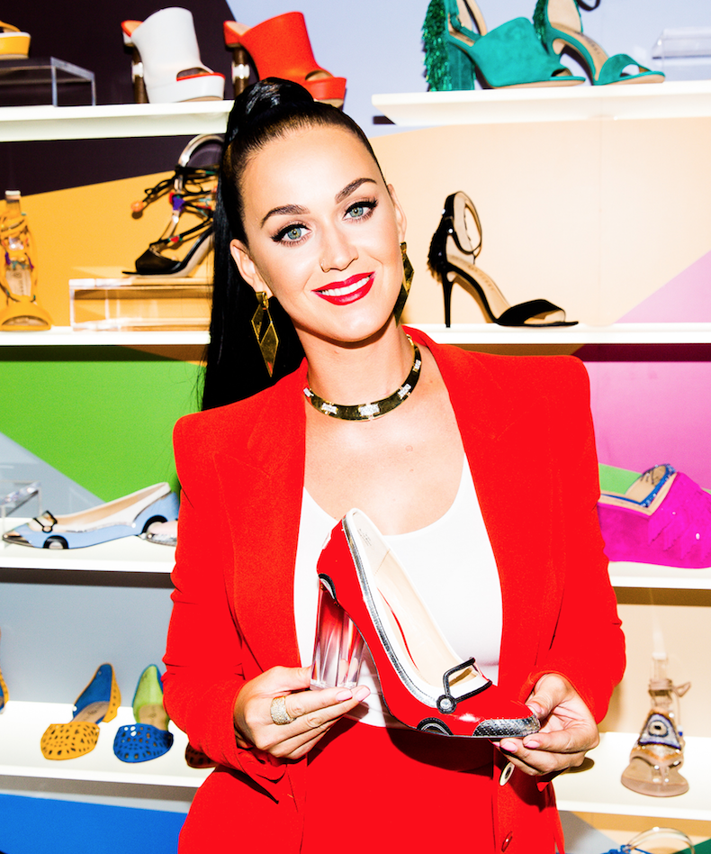 Katy Perry has been super busy, breaking up with Orlando Bloom, getting a haircut AND releasing her debut shoe line.  The line has a huge range of styles inspired by Charlotte Olympia and Sophia Webster.