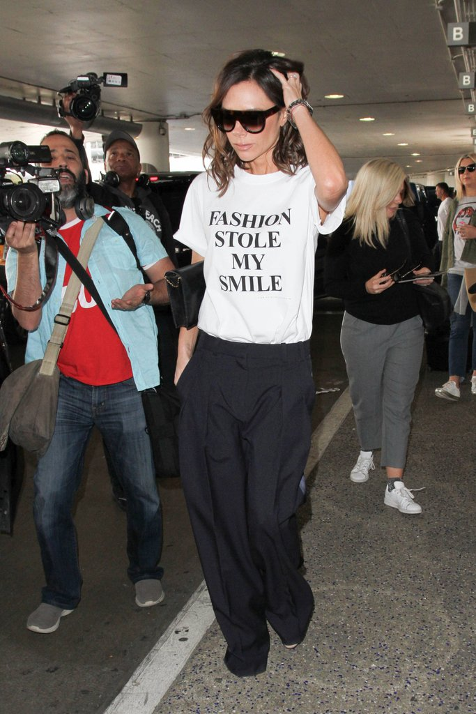 Slogan tees are on the trend radar this season, and Victoria Beckham hit the nail on the head with this slogan tee from her latest collection.