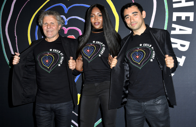 Naomi Campbell joined Diesel's Renzo Rosso and Nicola Formichetti in Paris for the launch of their charity collaboration Child at Heart.