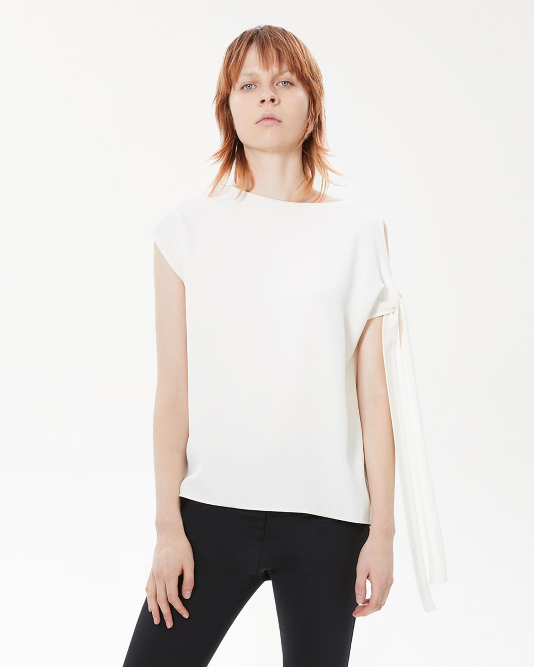 Helmut Lang 30 - Sleeve Tie Top - White