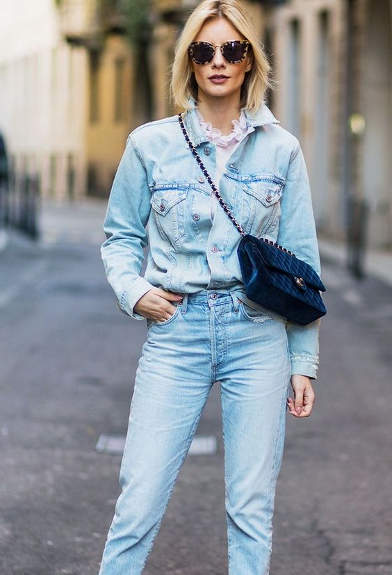 The straight leg jeans and denim jacket combo is a good one for double-denim beginners. Get a feminine blouse to peek through underneath as a finishing touch!
