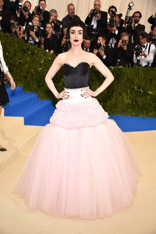Lily Collins wearing Giambattista Valli