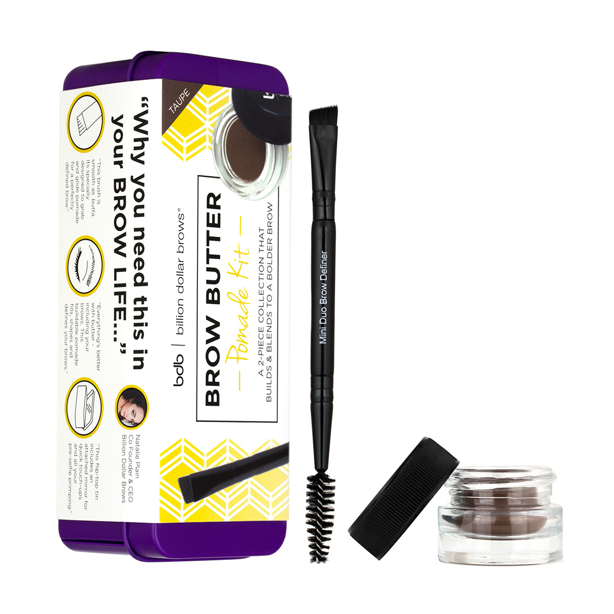 Billion Dollar Brows Brow Butter Pomade Kit in Taupe (Package)