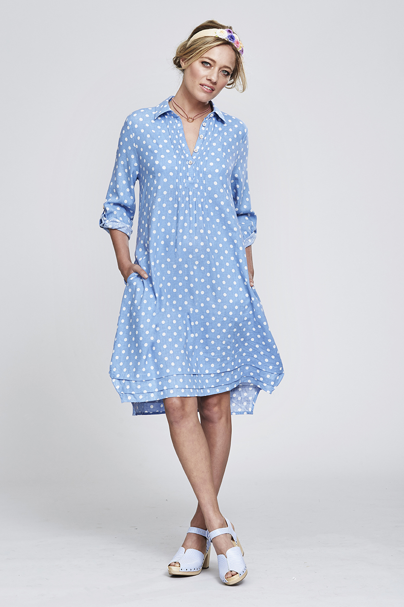 MS113 Sweet Mathilda Dress (Blue Spot Print)