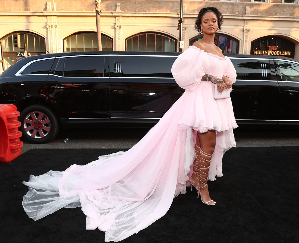 Rihanna stepped out in a light pink Giambattista Valli couture dress at the Valerian Red Carpet.