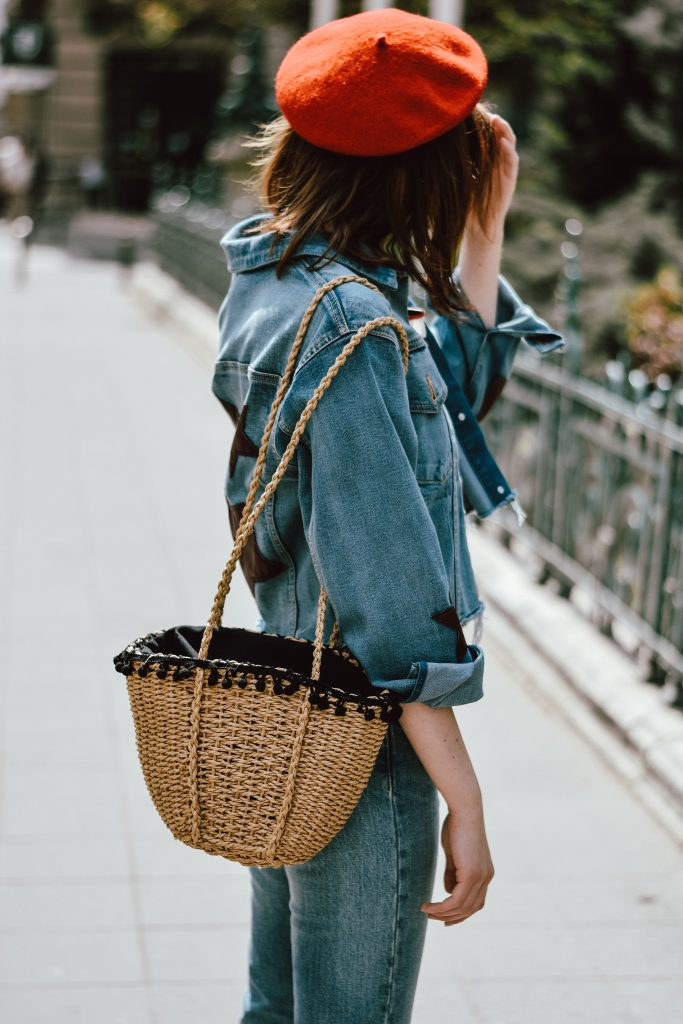 levis-jeans-breton-stripe-top-red-beret-beige-suede-heeled-mules-star-printed-denim-jacket-woven-bag-sunglasses-andreea-birsan-couturezilla-summer-outfit-12-683x1024