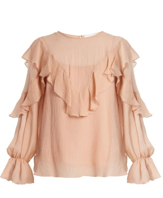 See by Chloe 21 - Silk Cotton Ruffle Blouse - Nude