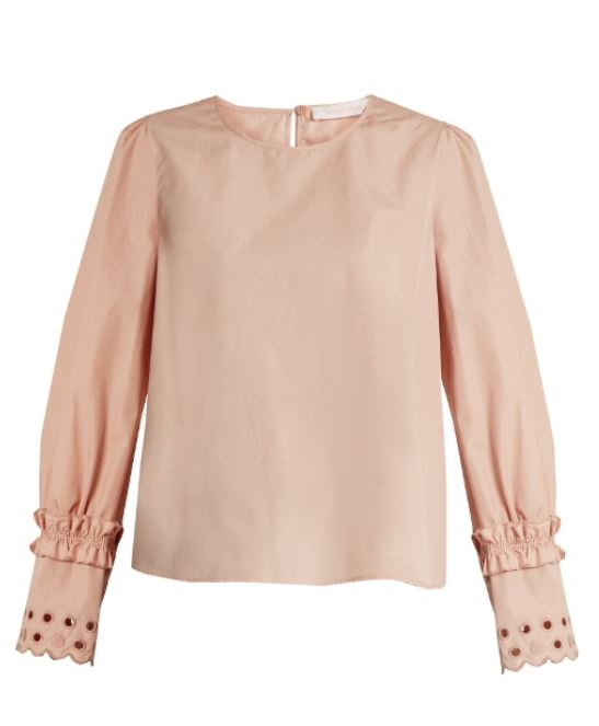 See by Chloe 22 - Broderie Cotton Blouse - Blush
