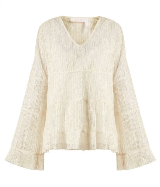 See by Chloe 23 - Cotton Lace LS Blouse - Natural White