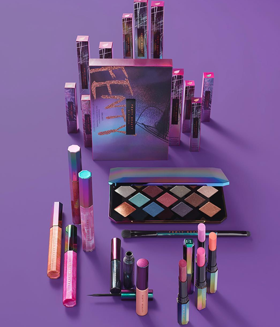 Rihanna has announced her Fenty Beauty holiday collection - Galaxy. It features metallic eyeshadow shades in a holographic case.
